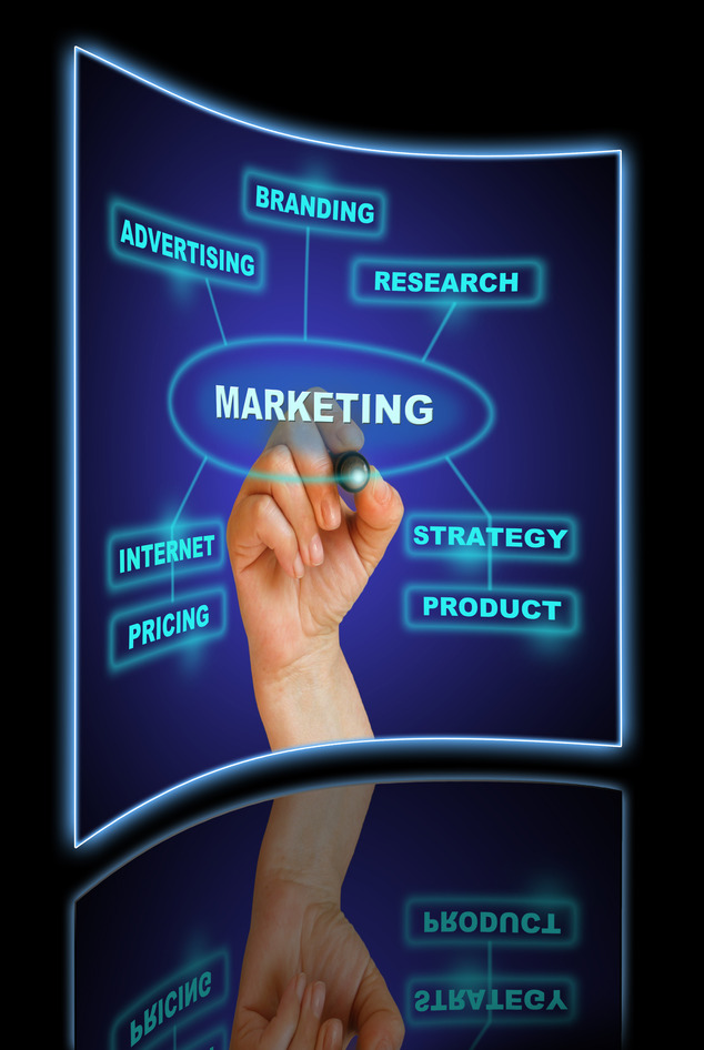 "hand writing ""marketing"" in blue on the gradient background made in 2d software"