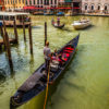 In boat in water in Venice.