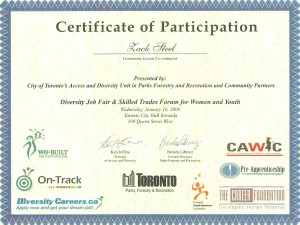 Certificate from City of Toronto