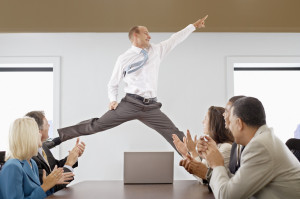 Excited Employee At Company Meeting